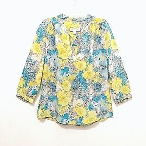 Amour Vert Silk Floral Blouse 3/4 Sleeve
